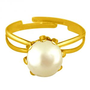 Surat Diamond Simple White Real Pearl Adjustable Ring Ring58