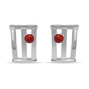 World Cup Cricket Stamps & Ball Cufflinks In Silver