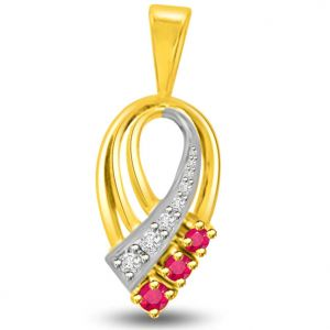 Surat Diamond Beautiful Two Tone Gold Pendant Of Diamonds And Rubies - P1121