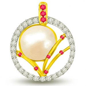 Surat Diamond 0.43 Tcw Beautiful Pearl Ruby And Diamond Pendant - P1125
