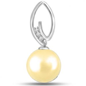 Surat Diamond Exotic Pearl And Diamond Pendant In 14kt White Gold - P1132