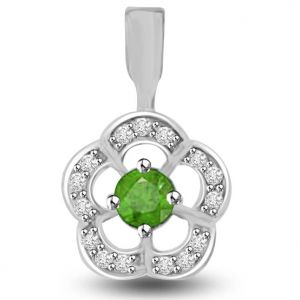 Surat Diamond Elegant Diamond And Emerald Pendant In White Gold - P1134