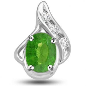 Surat Diamonds Diamond Pendants, Sets - Surat Diamond 1.05 TCW Emerald And Diamond Pendant In White Gold -  P1146