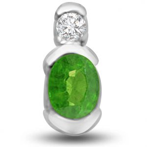Surat Diamond Delightful Emerald And Diamond Pendant In White Gold - P1148