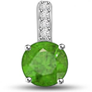Surat Diamond 0.55 Tcw Emerald And Diamond Pendant In White Gold - P1150