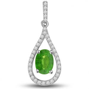 Surat Diamond 0.55 Tcw Emerald And Diamond Drop Shaped Pendant - P1153