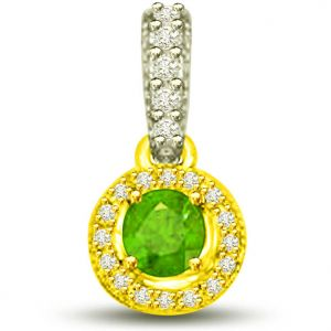 Surat Diamond 0.80 Tcw Two Tone Pendant Of Emeralds And Diamonds - P1155