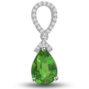 Surat Diamond 1.23 Tcw Stunning Emerald And Diamond Pendant - P1157