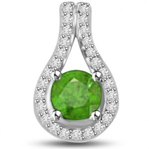 Surat Diamond 0.80 Tcw Emerald And Diamond Pendant In White Gold - P1160