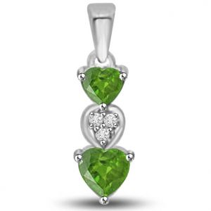 Surat Diamond 0.445 Tcw Heart Shaped Emerald And Diamond Pendant - P1161