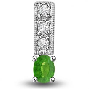 Surat Diamond 0.25 Tcw Emerald And Diamond Pendant In White Gold - P1163