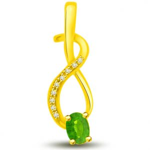 Surat Diamond 0.19 Tcw Emerald And Diamond Pendant In Yellow Gold - P1166