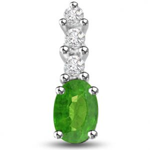 Surat Diamond Dazzling Emerald And Diamond Pendant In White Gold - P1167