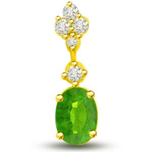 Surat Diamond 0.26 Tcw Emerald And Diamond Pendant In 18kt Gold - P1168