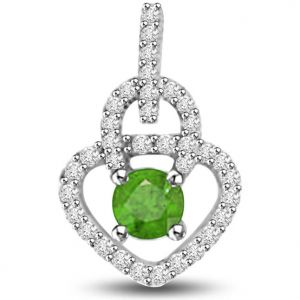 Surat Diamond 0.55 Tcw Diamond And Emerald Pendant In White Gold - P1169