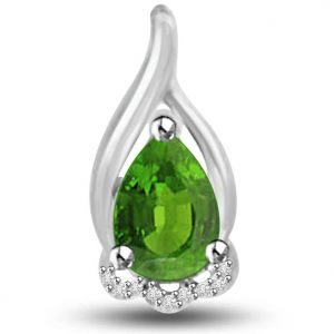 Surat Diamond 1.09 Tcw Emerald And Diamond Pendant In 14kt Gold - P1170
