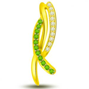 Surat Diamond Beautiful Emerald And Diamond Pendant In Yellow Gold - P1172