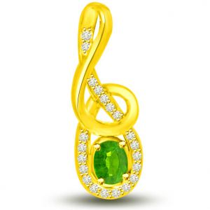 Surat Diamond 0.40 Tcw Emerald And Diamond Pendant In Yellow Gold - P1174