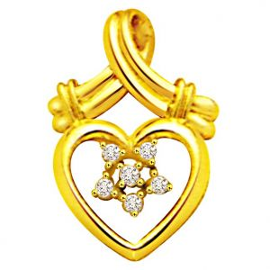Surat Diamond Lovely 0.12ct Diamond Heart Shape Pendant - P463
