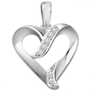 Surat Diamond 0.07ct Diamond White Gold Heart Pendant - P467