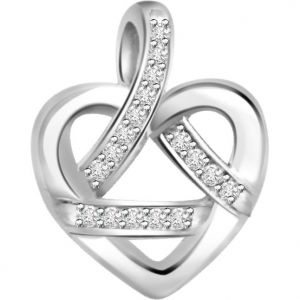 Surat Diamond 0.09ct Diamond White Gold Heart Pendant - P468