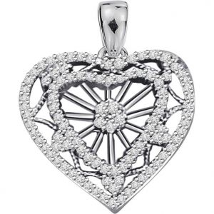 Surat Diamond 1.00ct Diamond White Gold Heart Pendant - P469