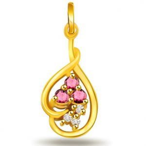 Rcpc,Ivy,Soie,Surat Diamonds,Port,Jharjhar Women's Clothing - Surat Diamond Peanut butter Diamond Pendant -  P485