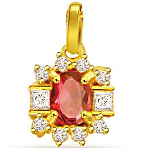 Rcpc,Ivy,Soie,Surat Diamonds,Port,Jharjhar Women's Clothing - Surat Diamond 0.20ct Diamond & Ruby Pendant -  P497