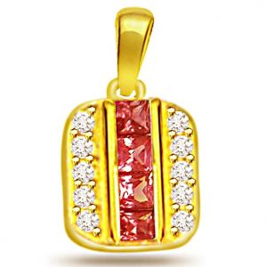 Surat Diamond Trendy 0.20ct Diamond & Ruby Pendant - P498