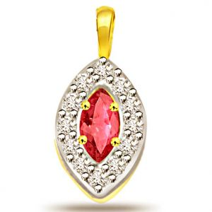 Surat Diamond 0.24ct Diamond & Ruby Pendant - P499