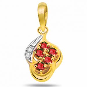 Surat Diamond Flower Shape Diamond & Ruby Pendant - P500