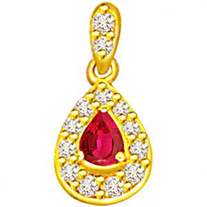 Surat Diamond 0.26ct Diamond & Pear Ruby Pendant - P501