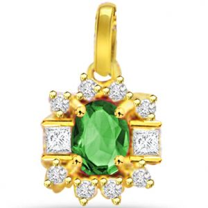 Surat Diamond 0.20ct Diamond & Emerald Gold Pendant - P507