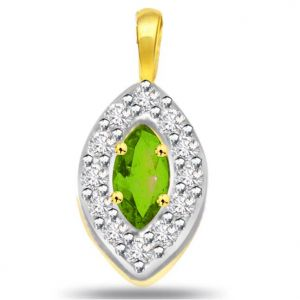 Rcpc,Ivy,Soie,Surat Diamonds,Port,Jharjhar,La Intimo,Hoop,Karat Kraft Women's Clothing - Surat Diamond Oval Shape Diamond & Emerald Pendant -  P509