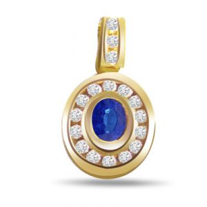 Surat Diamond 0.17ct Diamond & Oval Sapphire Gold Pendant - P517