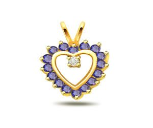 Surat Diamond 0.03ct Heart Shape Diamond & Sapphire Pendant - P518
