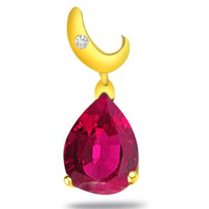 Surat Diamond 0.03ct Diamond Pear Ruby Pendant - P528