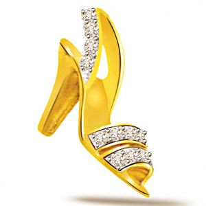 Surat Diamond Shoe Shaped Diamond 18kt Gold Pendant - P535