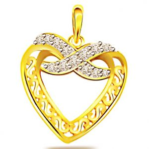Surat Diamond 0.10ct Diamond Heart Shape Gold Pendant - P540