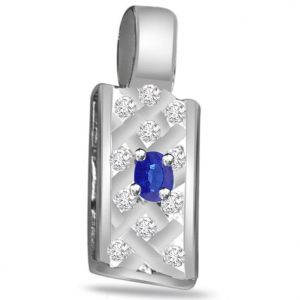 Surat Diamond 0.16ct Diamond & Sapphire 14kt Gold Pendant - P541