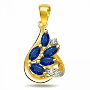 Surat Diamond 0.03ct Diamond & Sapphire 18kt Gold Pendant - P543