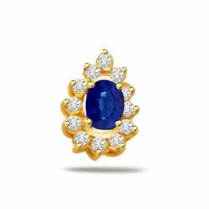 Surat Diamond 0.10ct Diamond & Sapphire 18kt Gold Pendant - P544