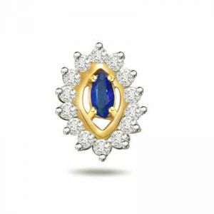 Surat Diamond 0.20ct Trendy Diamond & Sapphire 18kt Gold Pendant - P545
