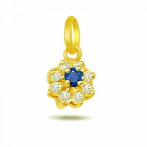 Surat Diamond 0.08ct Trendy Diamond & Sapphire 18kt Gold Pendant - P546
