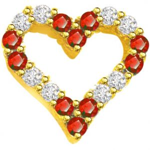 Surat Diamond 0.20ct Diamond & Ruby Heart Shape Pendant - P549
