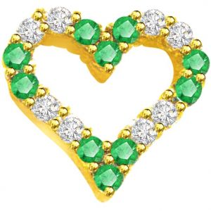 Surat Diamond 0.20ct Diamond & Emerald Heart Shape Pendant - P550