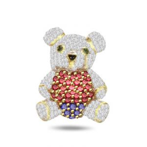 Surat Diamond 0.75ct Diamond Teddy Bear Pendant - P554