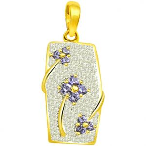 Surat Diamond 0.70ct Trendy Diamond & Sapphire 18kt Gold Pendant - P557