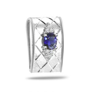 Surat Diamond 0.10ct Trendy Diamond & Sapphire 14kt Gold Pendant - P559