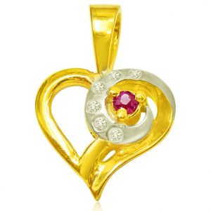 Surat Diamond 0.06 Cts Heart Shaped Real Gold Diamond & Ruby Pendant - P613